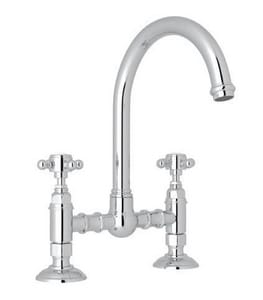 Rohl Italian Country Kitchen 2-Hole Bridge Column Spout Kitchen Faucet with Double Metal Lever Handle RA1461LM2