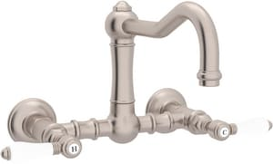 Rohl Perrin & Rowe® Country Kitchen Bridge Kitchen Faucet with Double Porcelain Lever Handle RA1456LP2