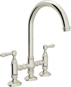 Rohl Perrin & Rowe® Country Kitchen 2-Hole Bridge Column Spout Kitchen Faucet with Double Metal Lever Handle RA1461LM2