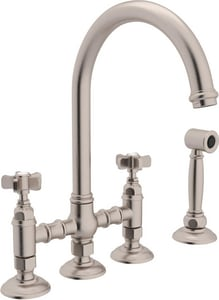 Rohl Country Kitchen 4-Hole Column Spout Bridge Kitchen Faucet with Five Spoke Handle and Sidespray RA1461XWS2