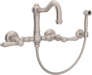 Rohl Country Kitchen Bridge Kitchen Faucet with Double Cross Handle and Side Spray RA1456LMWSSTN2