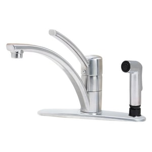 Pfister Parisa™ 10 in. 3 or 4-Hole Kitchen Faucet with Sidespray and Single Lever Handle PGT343NS