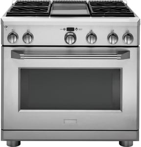General Electric Appliances Monogram® 35-1/4 x 35-7/8 in. 6.2 cf Natural Gas Freestanding Range in Stainless Steel GZGP364NDRSS