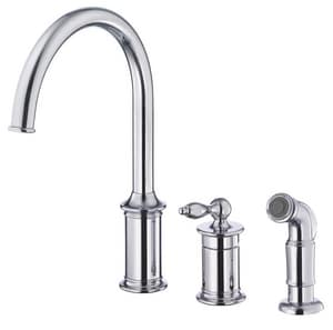Danze Prince™ 3-Hole Kitchen Faucet with Single Lever Handle and Sidespray DD409010