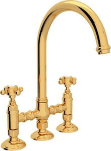 Rohl Italian Country Kitchen 4-Hole Bridge C-Spout Kitchen Faucet with Double Cross Handle RA1461XM2