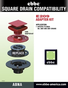 Ebbe America 6 in. Square Drain Adapter Kit with Riser EE209