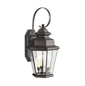 Kichler Lighting Savannah Estate 60W 3-Light Outdoor Wall Lantern in Olde Bronze KK9677OZ