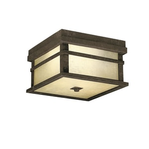 Kichler Lighting Cross Creek 75W 2-Light Outdoor Flush Mount in Aged Bronze KK9830AGZ