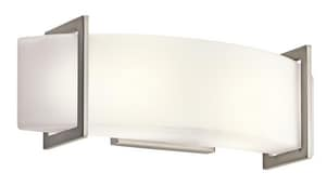 Kichler Lighting Crescent View 60W 2-Light Bath Vanity Fixture in Brushed Nickel KK45218NI