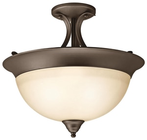 Kichler Lighting Dover 60W 3-Light Medium Semi-Flush Mount Ceiling Fixture in Olde Bronze KK3623OZ