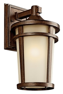 Kichler Lighting Atwood 100W 1-Light Wall Mount Lantern in Brown Stone KK49072BSTFL