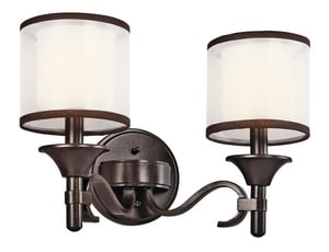 Kichler Lighting Lacey™ 60W 2-Light Candelabra Incandescent Bath Light KK45282