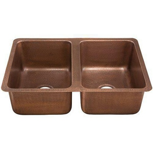 Thompson Traders Renovations 31 x 20 x 9 in. 2-Bowl Copper Kitchen Sink in Medium Antique TKDU3120AH