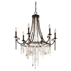 Murray Feiss Industries Cascade 28-1/4 in. 60 W 6-Light Candelabra Chandelier MF26606HTBZ