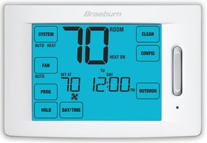 Braeburn Systems SpeedSet® 4-Heat 2-Cool Touchscreen Thermostat in White BRA6300