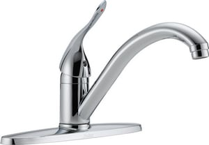 Delta Faucet Classic® 1.5 gpm Single Lever Handle 3-Hole Deckmount Kitchen Sink Faucet 180 Degree Swivel Spout 3/8 in. OD Connection D100LFHDF