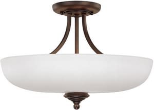 Capital Lighting Fixture Chapman 12 in. 3-Light Semi-Flushmount Ceiling Fixture with Soft White Glass Shade C3947SW