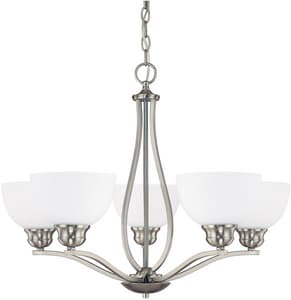 Capital Lighting Fixture Stanton 100W 5-Light Medium Incandescent Chandelier with Soft White Glass Shade C4035212