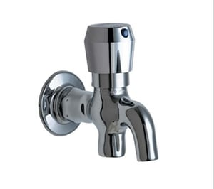 Chicago Faucet MVP™ 1-Hole Wall Mount Metering Glass Filler with Single Push Handle in Polished Chrome C324665PSHABCP