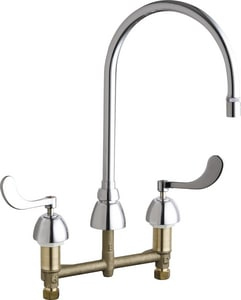 Chicago Faucet 2-Hole Deckmount Faucet with Double Wristblade Handle and Non-Aerating Laminar Outlet C786GN8AE36AB