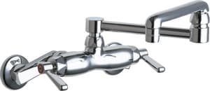 Chicago Faucet 2-Hole Wall Mount Service Sink Faucet with Double Lever Handle and 13 in. Spout Reach in Polished Chrome C445DJ13E35ABCP