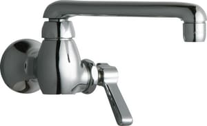 Chicago Faucet 1-Hole Wall Mount Water Inlet Faucet with Single Metal Lever Handle in Polished Chrome C332E35ABCP