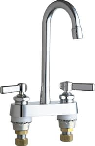 Chicago Faucet 2-Hole Hot and Cold Water Sink Faucet with Double Lever Handle and 3-5/8 in. Spout Reach C895RGD1E35AB
