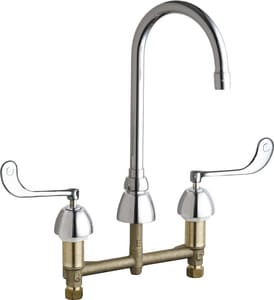 Chicago Faucet 3-Hole Hot and Cold Water Sink Faucet with Double Elbowblade Handle C786E35319AB