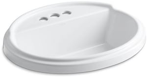 Kohler Tresham™ 3-Hole Oval Drop-In Bathroom Sink with 4 in. Centerset K2992-4
