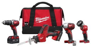 Milwaukee Hackzall® 1/2 in. M18 4 Tool Cordless Hammer Drill/Impact Driver/Sawzall/LED Light Combo Kit M269524