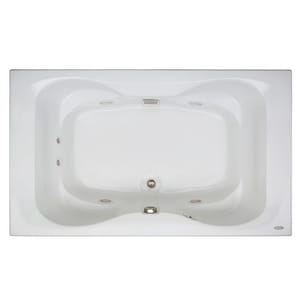 Jacuzzi Mito™ 60 x 42 in. Acrylic Rectangle Drop-In Whirlpool Bathtub with Center Drain and J2 Basic Control JMIT6042WCL2XX