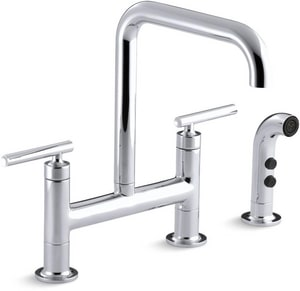 Kohler Purist® 2-Hole Bridge Kitchen Faucet with Double Lever Handle and Sidespray K7548-4