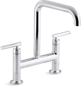 Kohler Purist® 1.8 gpm 2-Hole Double Lever Handle Deckmount Bridge Kitchen Sink Faucet K7547-4