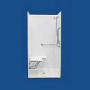 Bathcraft 38 x 38 in. ADA Shower with Seat and Grab Bar in White BL11383834BLSWH
