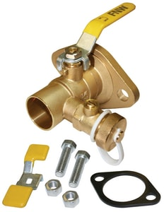 FNW Sweat 2-Piece Ball Valve with Lever Handle and Rotating Flange and Drain FNW495D