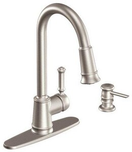 Moen Lindley™ 1.5 gpm Single-Handle Deck Mount Kitchen Sink Faucet High Arc Pull Down Spout 3/8 in. Compression Connection MCA87012