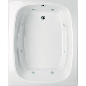 Hydro Systems Alexis 60 x 48 in. 8-Jet Acrylic, Fiberglass Reinforced and Plastic Rectangle Drop-In Bathtub with End Drain HALE6048AWP