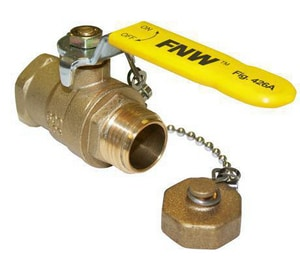 FNW 600 WOG MIP x Hose Brass Ball Valve with Cap Gasket and Chain FNW428A