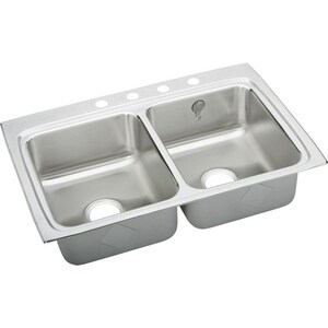 Elkay Gourmet E-Dock™ 5-Hole 2-Bowl Topmount Kitchen Sink Kit with Center Drain ELR3322EK5