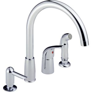 Peerless Faucet Kitchen Waterfall with Single-Handle and Soap Dispenser PP188900LFSD