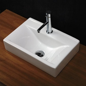 Lacava 17-1/2 x 11-3/4 in. Vessel Less Overflow with Single Hole Centerset Faucet L546201001