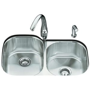 Kohler Undertone® 2-Bowl Undermount Kitchen Sink with Rear Center Drain K3354-NA