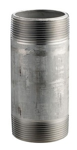 Merit Brass 1/4 in. MNPT Schedule 80 304L Stainless Steel Seamless Threaded Both Ends Nipple DS84NB
