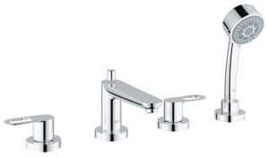 Grohe BauLoop Roman Tub Faucet with Handshower 4 Hole 2-Handle Metal Lever Deck Mount G19594