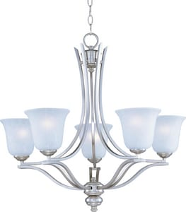 Maxim Lighting International 100W 5-Light Medium Incandescent Chandelier in Satin Silver M10175ICSS