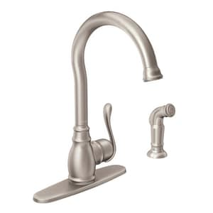 Moen Anabelle™ 1.5 gpm Single Lever Handle Deckmount Kitchen Sink Faucet High Arc Spout 3/8 in. Compression Connection M87650