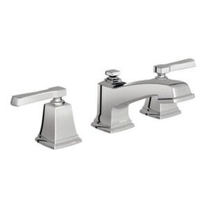 Moen Boardwalk™ Double Lever Handle Widespread Low Arc Lavatory Faucet in Polished Chrome MOE84820