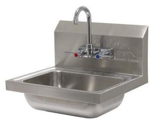 Advance Tabco 20 Gauge 16 x 14 in. Wall Mount Hand Service Sink Stainless Steel with Splash Mounted Faucet A7PS60
