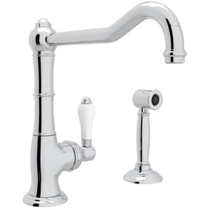 Rohl Italian Country Kitchen 1-Hole Kitchen Faucet with Single Porcelain Lever Handle, Sidespray and Extended Spout RA365011LPWS2