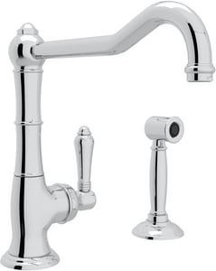 Rohl Cinquanta 1.5 gpm Single Lever Handle Metal Kitchen Faucet with Sidespray and Extended Spout RA365011LMWS2